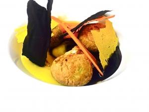 Zuppetta fredda di carote al rosmarino, polpetta croccante vegetale non fritta